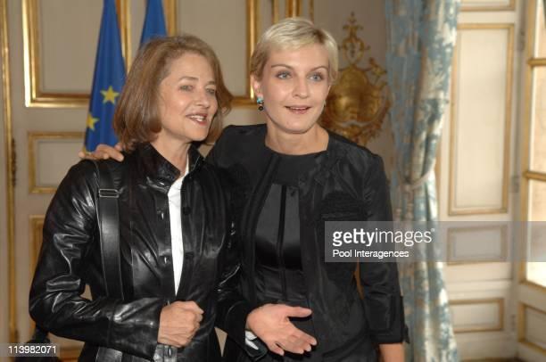 David Lynch honoured by Nicolas Sarkozy In Paris France On October 01 2007Charlotte Rampling and Melita Toscan Du Plantier French President Nicolas...