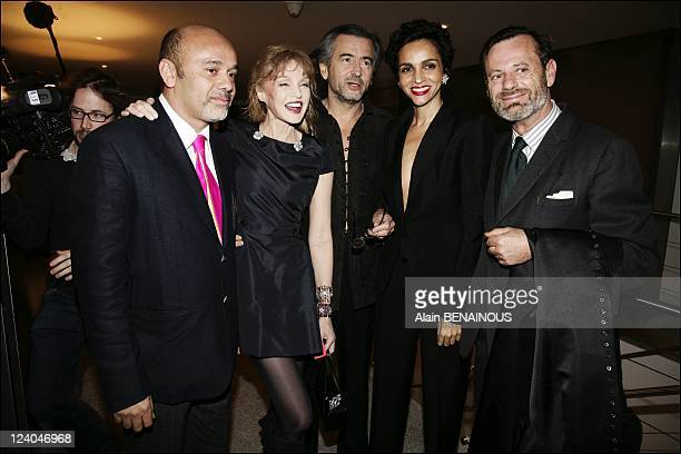 David Lynch private diner In Paris France On February 28 2007 Christian Louboutin Arielle Dombasle and Bernard Henri Levy Faridah Louis Benech