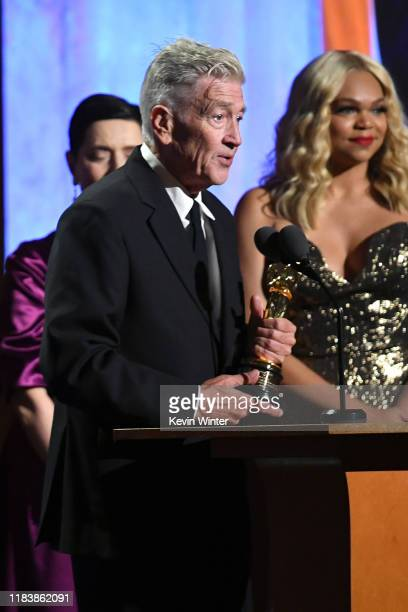 David Lynch speaks onstage during the Academy Of Motion Picture Arts And Sciences' 11th Annual Governors Awards at The Ray Dolby Ballroom at...