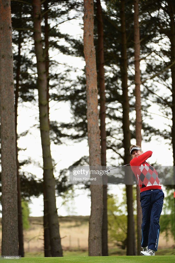 David Lynn of England hits a tee shot during the first round of the BMW PGA Championship on the West Course at Wentworth on May 23, 2013 in Virginia Water, England.