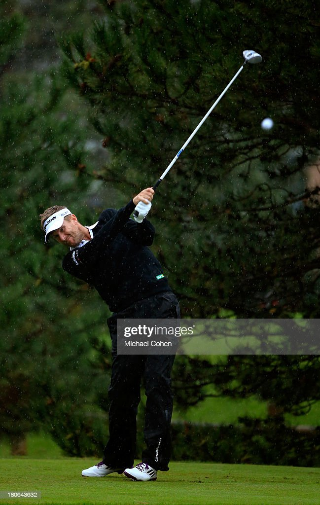 David Lynn of England hits off the fourth tee during the Final Round of the BMW Championship at Conway Farms Golf Club on September 15, 2013 in Lake Forest, Illinois.