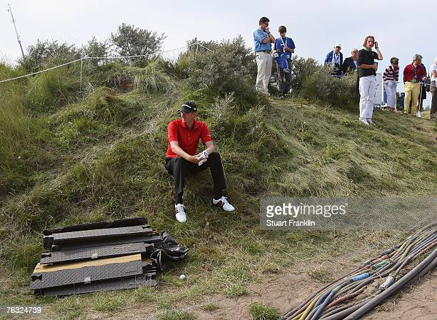 David Lynn of England waits for a ruling on the 14th hole during the third round of The KLM Open at Kennemer Golf & Country Club on August 25, 2007...