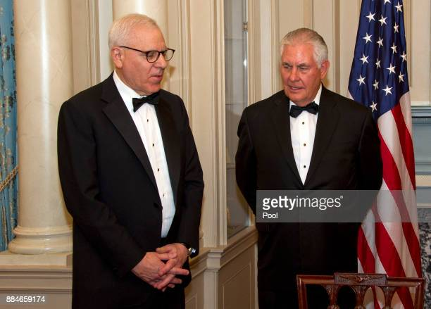 David M Rubenstein Chairman John F Kennedy Center for the Performing Arts left and United States Secretary of State Rex Tillerson right in discussion...