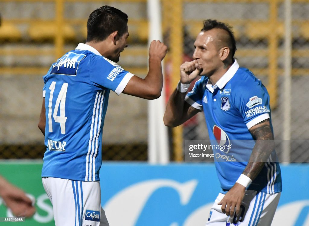 David Macalister Silva (L) and Juan Guillermo Dominguez (R) during a match between La Equidad and Millonarios as part of round 7 of Liga Aguila II at Estadio Metropolitano de Techo on August 12, 2017 in Bogota, Colombia.