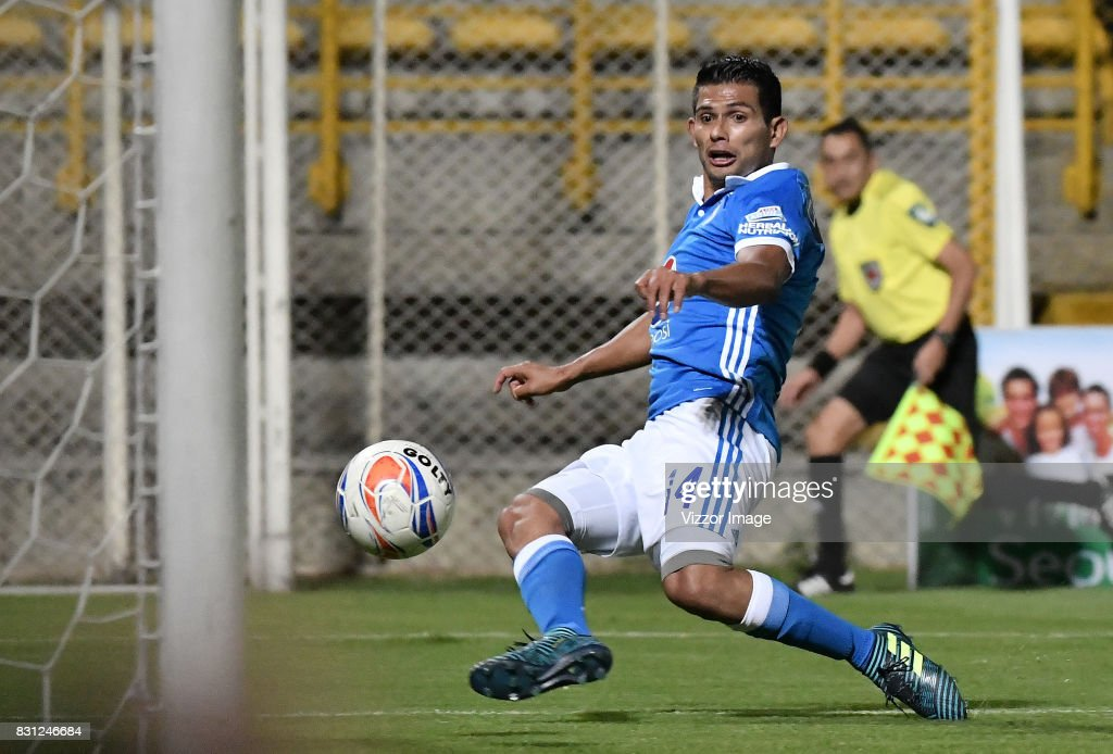 David Macalister Silva scores during a match between La Equidad and Millonarios as part of round 7 of Liga Aguila II at Estadio Metropolitano de Techo on August 12, 2017 in Bogota, Colombia.
