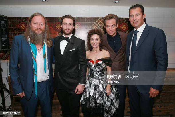 David Mackenzie Aaron TaylorJohnson Gillian Berrie Chris Pine and Scott Stuber attend the after party for the Outlaw King TIFF 2018 opening night red...
