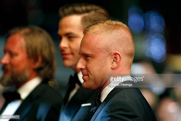 David Mackenzie Chris Pine and Ben Foster attend the Hands Of Stone premiere during the 69th annual Cannes Film Festival at the Palais des Festivals...