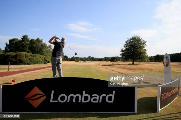 David MacKinnon of Chorlton Cum Hardy Golf Club plays a tee shot on the first hole during the Lombard Trophy North Qualifier at Fairhaven Golf Club...