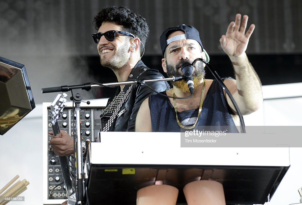 David Macklovitch (L) and Patrick Gemayel of Chromeo perform during 2014 Lollapalooza at Grant Park on August 3, 2014 in Chicago, Illinois.