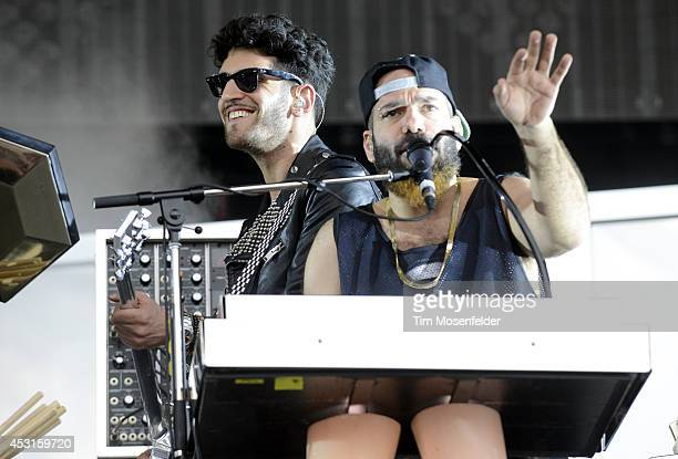David Macklovitch and Patrick Gemayel of Chromeo perform during 2014 Lollapalooza at Grant Park on August 3 2014 in Chicago Illinois