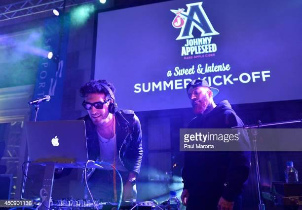 David Macklovitch and Patrick Gemayel of Chromeo perform onstage during Johnny Appleseed Hard Apple Cider's celebration to kick off the summer season...