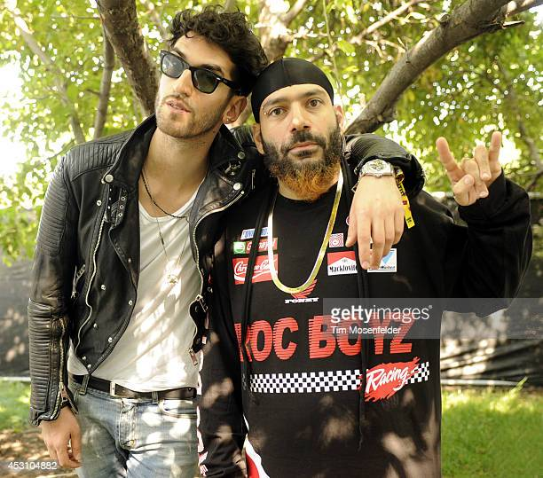 David Macklovitch and Patrick Gemayel of Chromeo pose at 2014 Lollapalooza at Grant Park on August 2 2014 in Chicago Illinois
