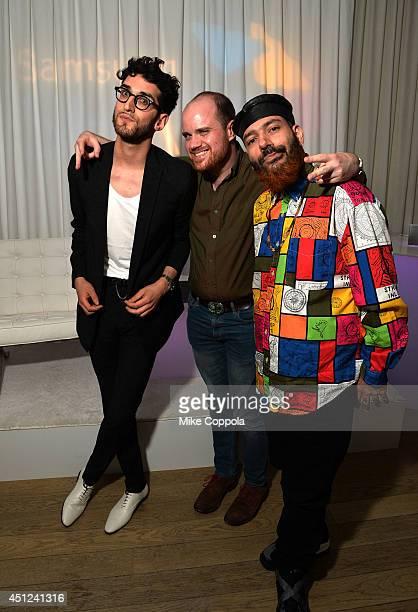 David Macklovitch and Patrick Gemayel of Chromeo with Andrew Hampp attend Samsung Shape Summer Mix Series With Chromeo on June 25 2014 in New York...