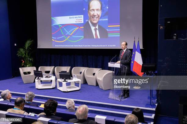 David Malpass president of the World Bank Group delivers a keynote speech during the 75th anniversary of the Bretton Woods system of monetary...