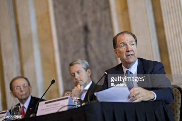 David Malpass undersecretary for international affairs at the US Department of Treasury speaks as Randal Quarles vice chairman of supervision at the...