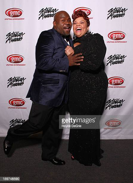 David Mann and Tamela Mann attend the 28th Annual Stellar Awards at Grand Ole Opry House on January 19 2013 in Nashville Tennessee