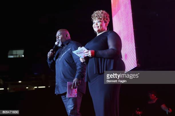 David Mann and Tamela Mann speak onstage at the 2017 ESSENCE Festival Presented By Coca Cola at the MercedesBenz Superdome on July 1 2017 in New...