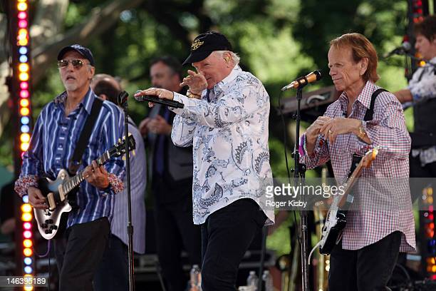 David Marks Mike Love and Al Jardine of The Beach Boys perform on ABC's Good Morning America at Rumsey Playfield Central Park on June 15 2012 in New...