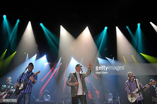 David Marks Mike Love and Al Jardine of The Beach Boys performs during their final concert on their 50th Anniversary tour at Wembley Arena on...