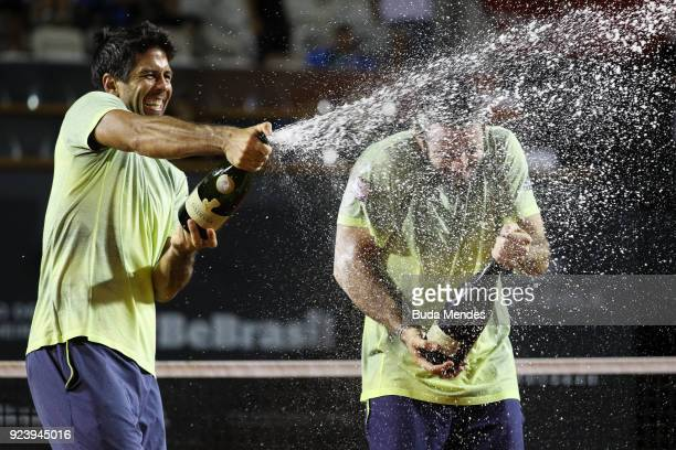 David Marrero and Fernando Verdasco of Spain celebrate the victory and the first place against Alexander Peya of Austria and Nikola Mektic of Croatia...