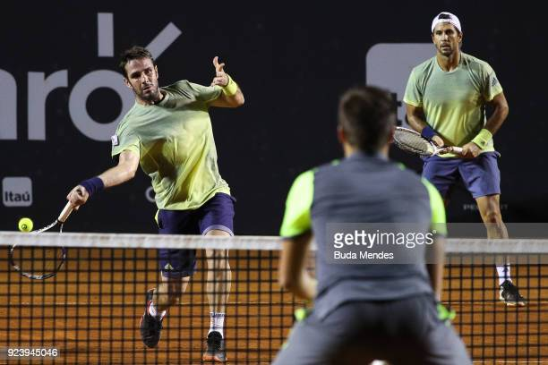 David Marrero and Fernando Verdasco of Spain returns a shot to Alexander Peya of Austria and Nikola Mektic of Croatia during the doubles final of the...