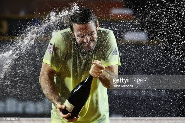 David Marrero of Spain celebrates the victory and the first place after defeating Alexander Peya of Austria and Nikola Mektic of Croatia during the...