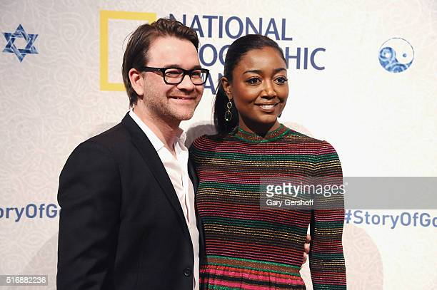 David Mars and actress Patina Miller attend the National Geographic The Story Of God with Morgan Freeman world premiere at Jazz at Lincoln Center on...