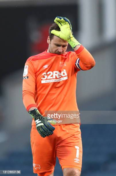 David Marshall of Derby County gestures after the Sky Bet Championship match between Blackburn Rovers and Derby County at Ewood Park on April 16,...