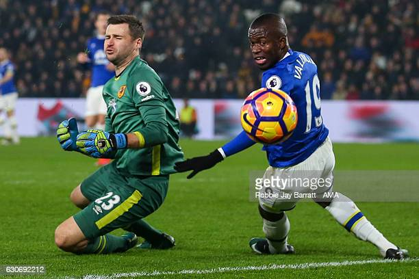 David Marshall of Hull City and Enner Valencia of Everton during the Premier League match between Hull City and Everton at KC Stadium on December 30...
