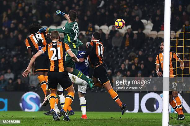 David Marshall of Hull City scores an own goal to make the score 1-1 during the Premier League match between Hull City and Everton at KC Stadium on...