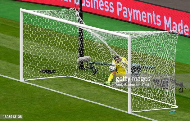 David Marshall of Scotland collides with the net after failing to save Czech Republic's second goal scored by Patrik Schick during the UEFA Euro 2020...