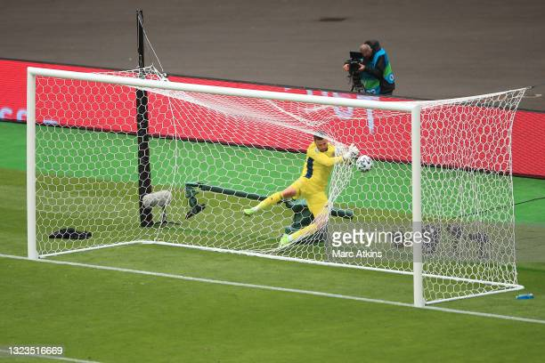 David Marshall of Scotland fails to save as Patrik Schick of Czech Republic scores his team's second goal during the UEFA Euro 2020 Championship...