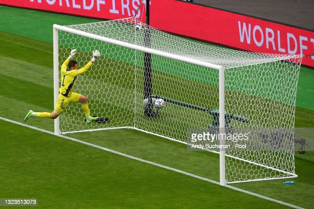 David Marshall of Scotland fails to save Czech Republic's second goal scored by Patrik Schick during the UEFA Euro 2020 Championship Group D match...