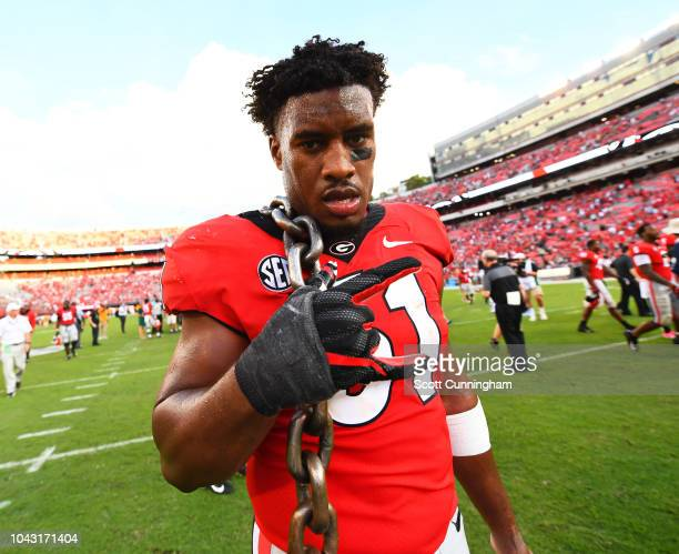 David Marshall of the Georgia Bulldogs heads off the field after the game against the Tennessee Volunteers on September 29 2018 at Sanford Stadium in...