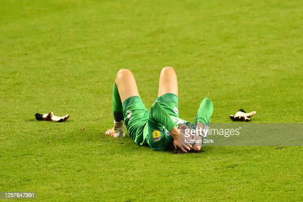David Marshall of Wigan Athletic looks dejected after the Sky Bet Championship match between Wigan Athletic and Fulham at DW Stadium on July 22 2020...