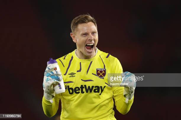 David Martin of West Ham United celebrates after the Premier League match between Southampton FC and West Ham United at St Mary's Stadium on December...