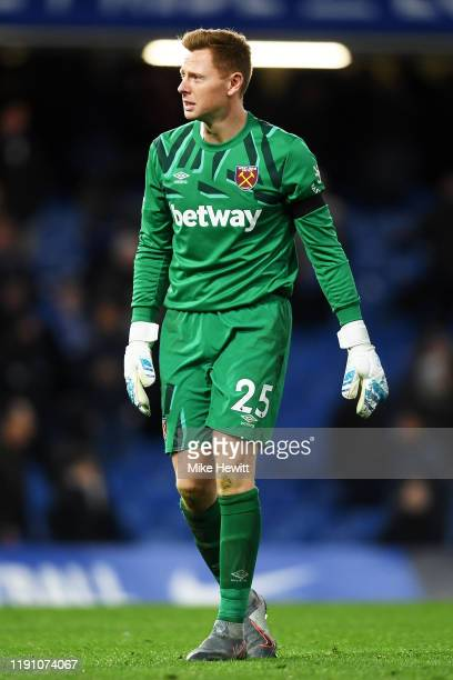 David Martin of West Ham United celebrates following the Premier League match between Chelsea FC and West Ham United at Stamford Bridge on November...