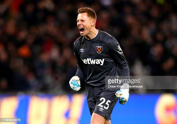 David Martin of West Ham United celebrates his teams first goal during the Premier League match between West Ham United and Arsenal FC at London...
