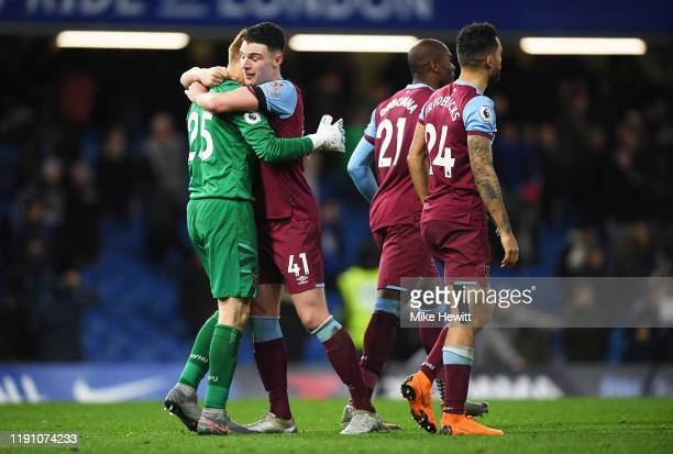 David Martin of West Ham United celebrates with Declan Rice following the Premier League match between Chelsea FC and West Ham United at Stamford...