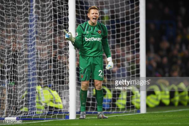 David Martin of West Ham United gives instructions to his teammates during the Premier League match between Chelsea FC and West Ham United at...