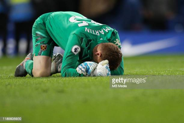 David Martin of West Ham United reacts at the final whistle during the Premier League match between Chelsea FC and West Ham United at Stamford Bridge...