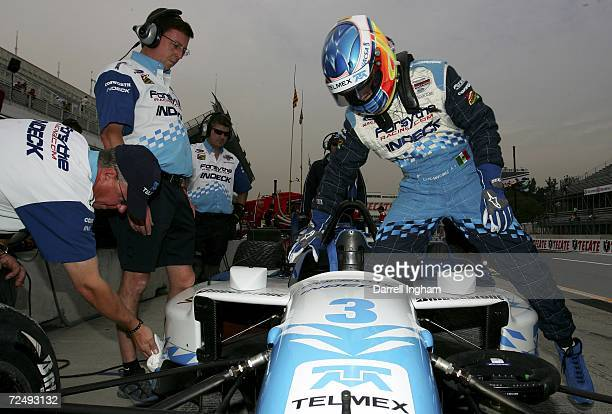 David Martinez climbs aboard the Forsythe Championship Racing Lola Cosworth during practice for the Champ Car World Series Gran Premio Telmex at the...