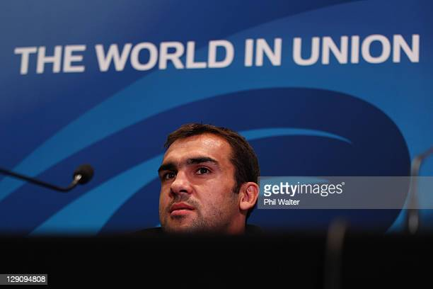 David Marty of France during a France IRB Rugby World Cup 2011 press conference at the Crowne Plaza Hotel on October 13 2011 in Auckland New Zealand