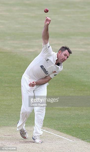 David Masters of Essex bowls during the LV County Championship division two match between Northamptonshire and Essex the County Ground on June 8 2015...