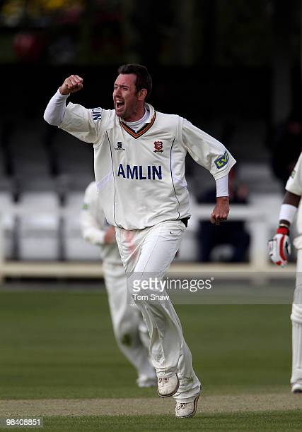 David Masters of Essex celebrates taking the wicket of Neil McKenzie of Hampshire during the LV County Championship match between Essex and Hampshire...