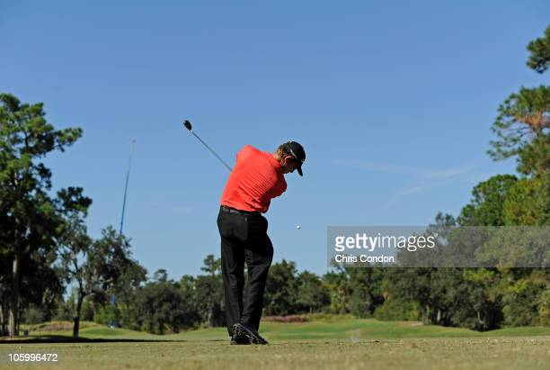 David Mathis tees off on the 15th hole during the final round of the Winn-Dixie Jacksonville Open presented by Planters at TPC Sawgrass Dye's Valley...
