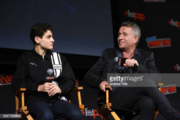 David Mazouz and Sean Pertwee speak onstage at the Gotham Special Video Presentation and QA during New York Comic Con in The Hulu Theater at Madison...