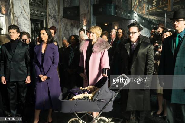 David Mazouz Morena Baccarin Erin Richards Robin Lord Taylor and Cory Michael Smith in the They Did What episode of GOTHAM airing Thursday April 18...