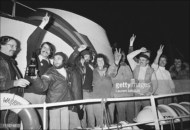David Mc Taggart and the Greenpeace members in United Kingdom on October 18th, 1978.