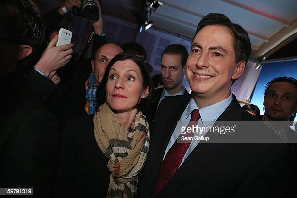 David McAllister incumbent gubernatorial candidate of the German Christian Democrats and his wife Dunja arrive at the CDU election night party...